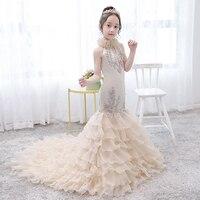Роскошные Русалка торжественное платье Вечерние аппликации облако для девочек в цветочек платья для свадьбы со шлейфом платье принцессы в
