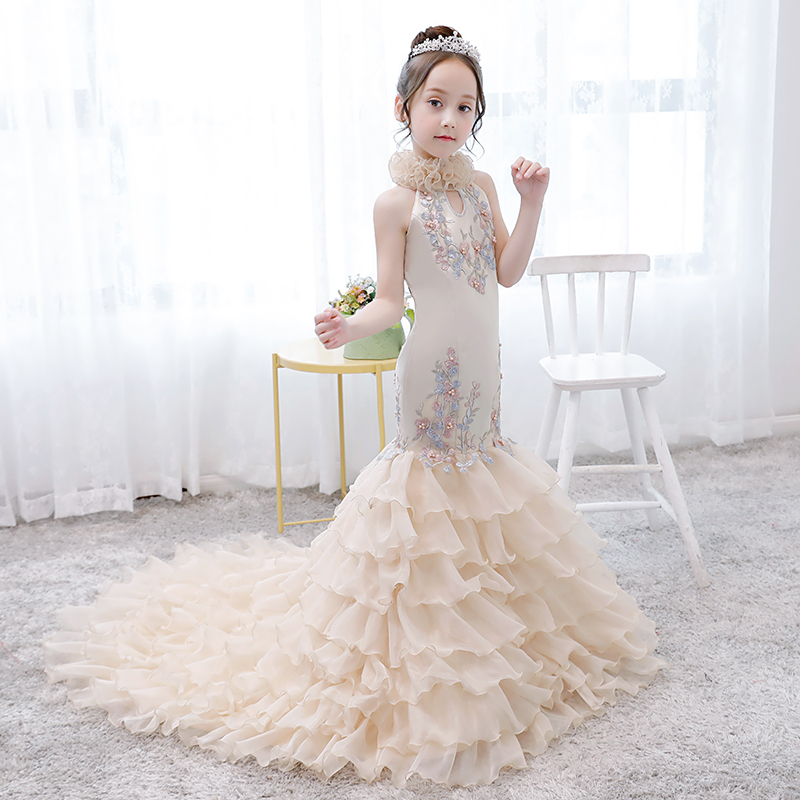 Luxury Mermaid Formal Dress Party Appliques Cloud Flower Girl Dresses for Wedding Tailing Princess Dress Evening Gowns AA278Luxury Mermaid Formal Dress Party Appliques Cloud Flower Girl Dresses for Wedding Tailing Princess Dress Evening Gowns AA278