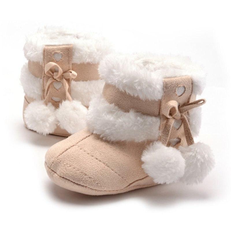 Piger Soft Plush Booties Spædbarn Anti Slip Snow Boots 5 Farver Sko Varm Sød Sne Baby Pige Vinterstøvler