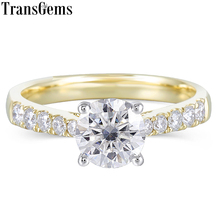 Transgems 10K White and Yellow Gold 1ct 6.5mm F Color Moissnaite Engagement Ring for Women Wedding with Accents on the Band