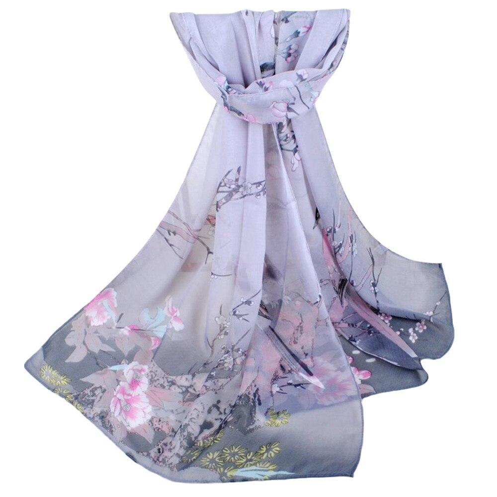 2019 Spring Women Scarf Chiffon Flower Embroidery Shawl Scarf Hijab Wrap Headband Ladies Muslim Hijabs Scarf Fashion New #O