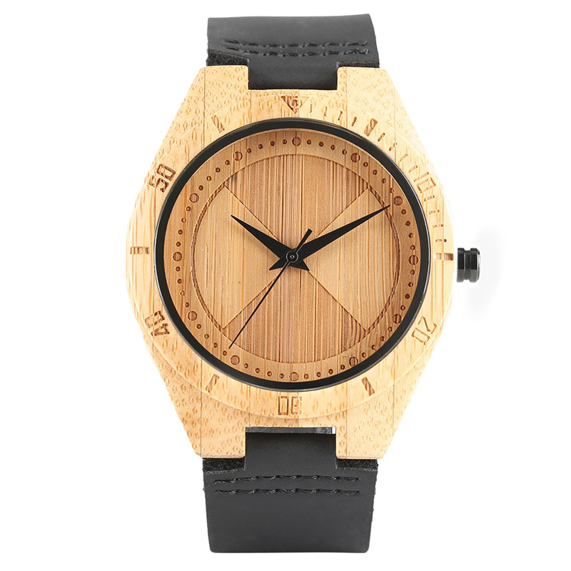 Bangle Bamboo Wrist Watch Genuine Leather Band Strap Nature  Women Top Hot Luxury Men Modern Analog Handmade  Quartz