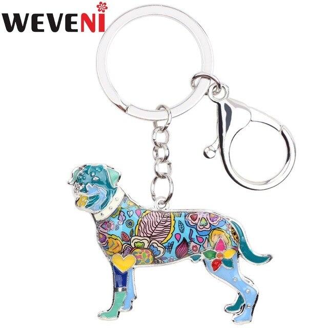 WEVENI Enamel Rottweiler Dog Key Chain Key Ring Souvenir Gift For Women Bag  Charm Fashion Animal Jewelry Keychain Accessories a1b58677a