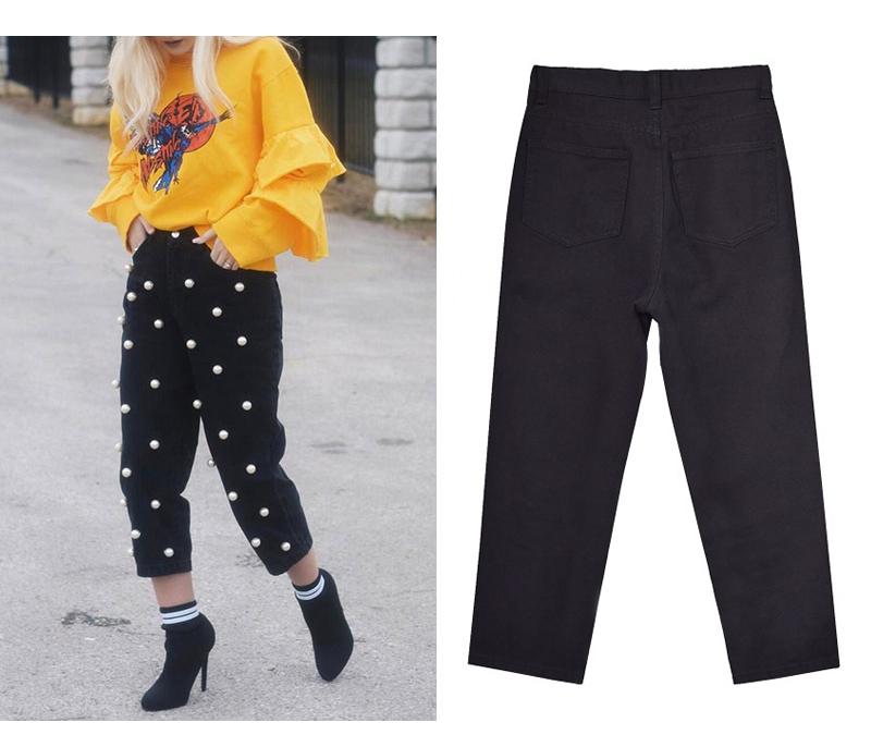 2017 Women`s high waist straight loose wide leg cowboy broken pants pendant big pearl lady pants street wild (9)