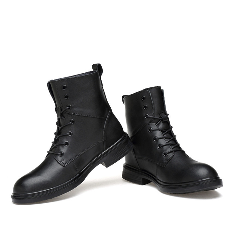 Ankle-Boots Genuine-Leather Lace-Up-Shoes Shoes38-50 Plush Winter Fashion Fur for Male