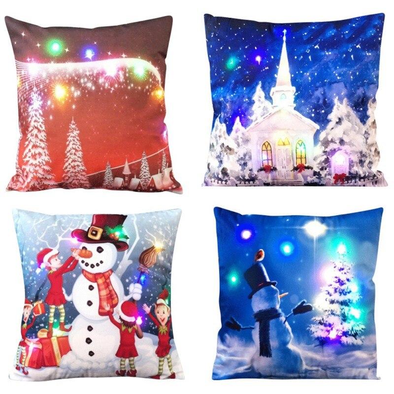Creative Pillowcase Christmas LED Lights Lit Pillow Cushions Velvet Pillowcase Happy Festival Household