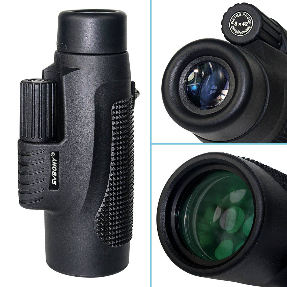 Tools : SVBONY Monocular 8x42 Hand Focus Telescope Glass Lenses BK7 Prism for Hunting Hiking Birdwatching Waterproof Binoculars F9116AB