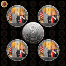 WR Silver Plated Coin Copy Silver Coin US 45th President Donald Trump Luxury Coin Christmas 5pcs/lot