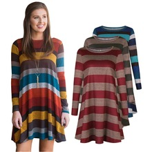 New autumn is popular euramerican fashionable individual temperament stripe long sleeve loose recreational female dress