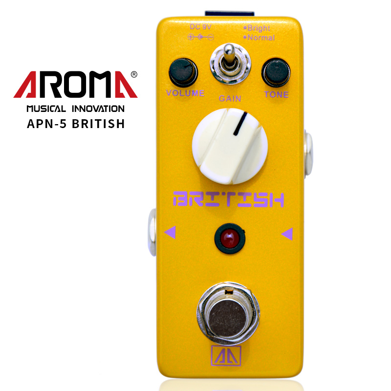 AROMA APN-5 Guitar Effect Pedal Classic British Style Distortion Guitar Effect Pedal 2 Modes Aluminum Alloy Body True Bypass aroma apn 3 plexion brit stack simulator guitar effect pedal dc9v power supply with true bypass guitarra parts one free cable