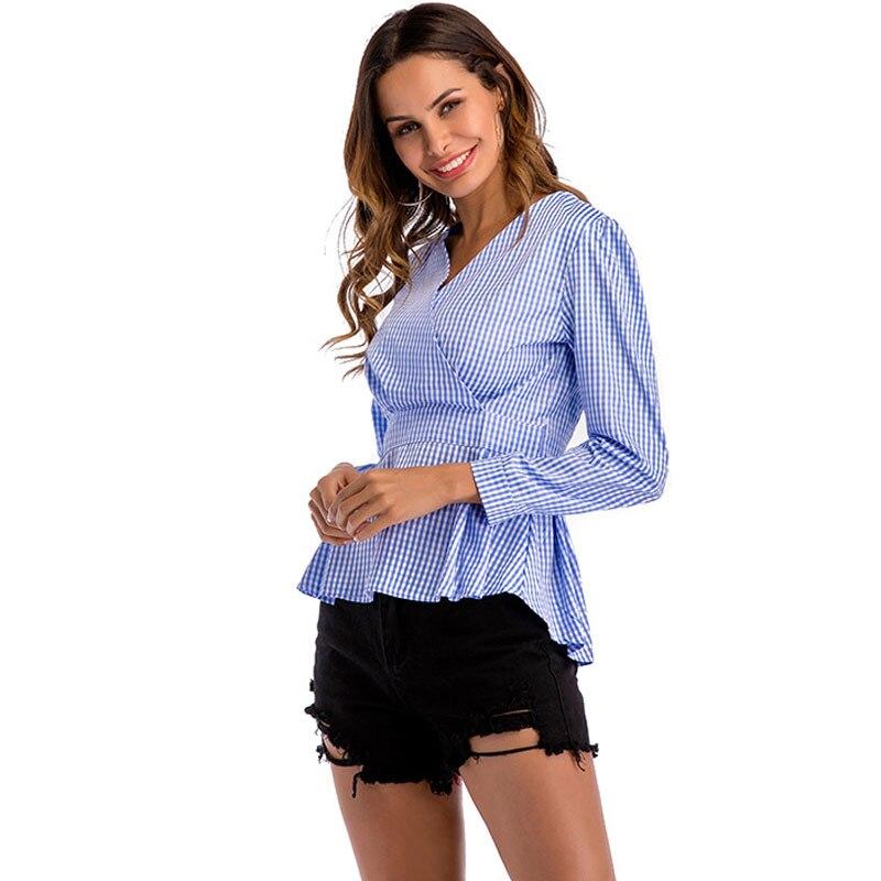 Tops Negro Blusas Moda Gasa De azul Slim Oficina rojo Mujeres Camisetas Cuadros Blusa 2019 La Mujer Tamaño Plus A Las Volocean Ropa Hzw6YqH