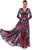 2017 New High Quality Free Home Delivery Summer Dress Sexy Deep V Neck Long Sleeve Print