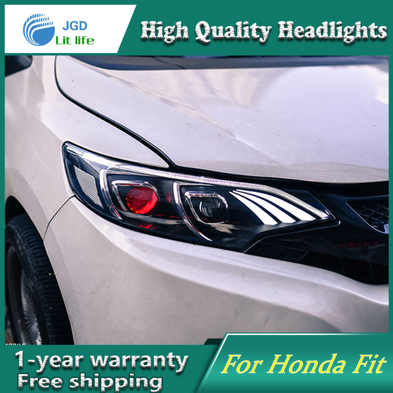 high quality Car styling case for Honda Fit headlights 2014-2017 Headlights LED Headlight DRL Lens Double Beam HID high quality hid headlights led drl angel eyes for honda cr v 2012 2014