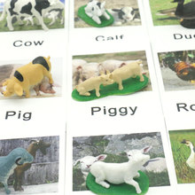 Montessori Educational Cards Farm Animals Words Learning Card Educational Toys for Kids Juguetes Brinquedos MJ1644H