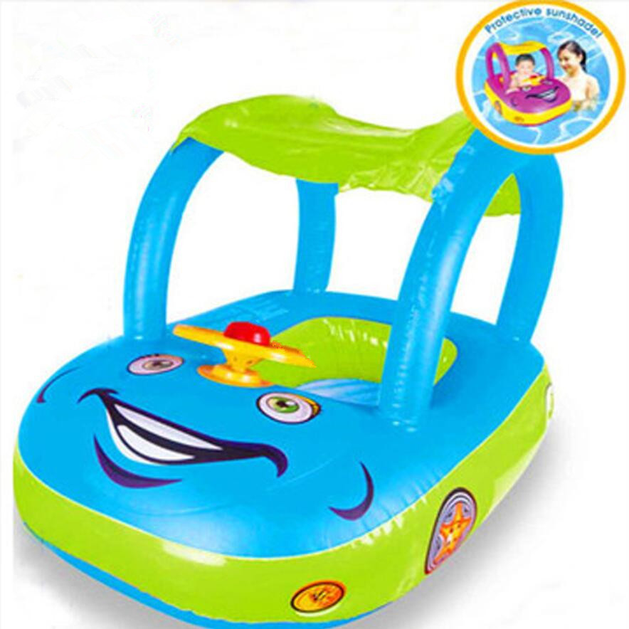0-3 Years Thickened Car Boat with Steering Wheel Baby Float Seat Car Children Rubber Circles Swimming Accessories