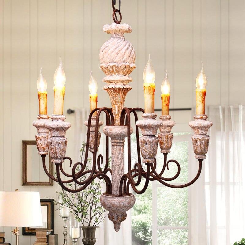 Retro antigo vela lustre escultura em madeira maciça lâmpadas led para loja de roupas bar restaurante lustre casa criativa pa0118 Lustres     - title=