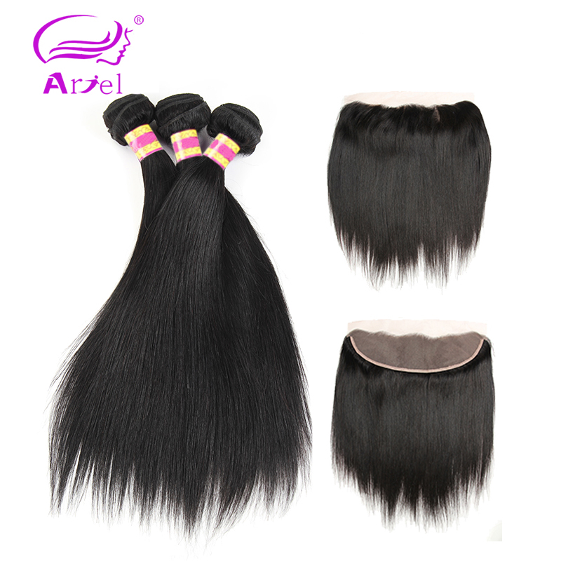 Ariel Brazilian Straight Hair Bundles With Frontal Natural Color Non remy Human Hair 3 Bundles Brazilian