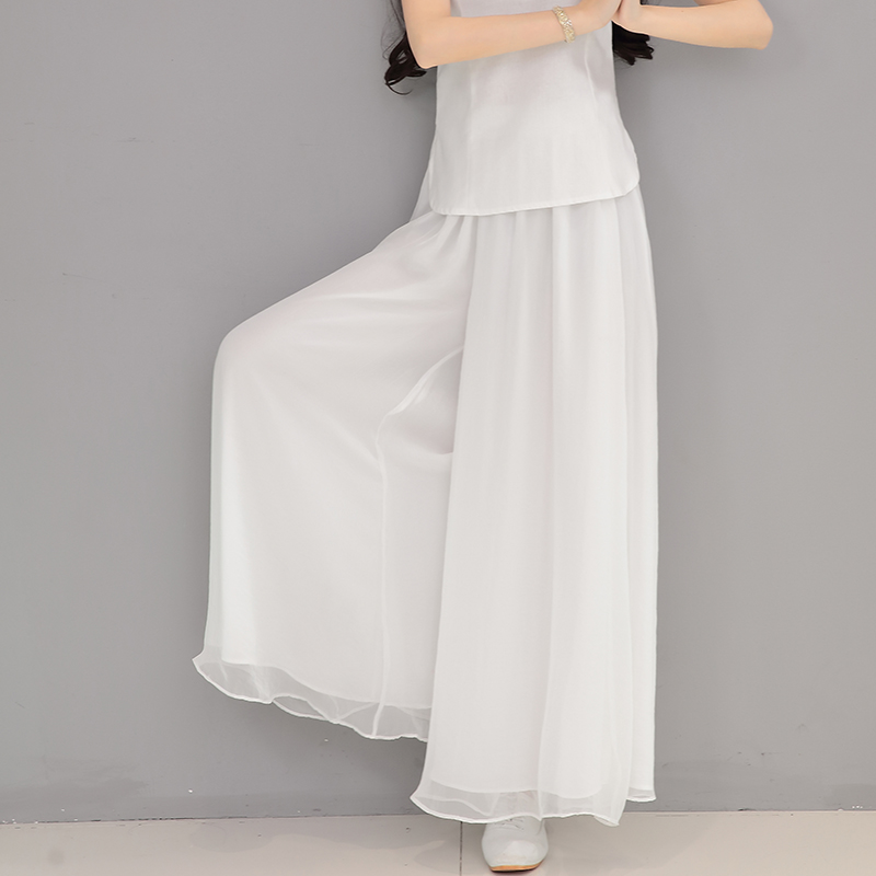 2019 summer new white   wide     leg     pants   women vintage solid loose chiffon lady elegant trousers   pants   top quality