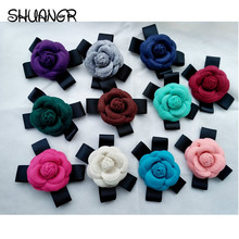 SHUANGR Vintage Charms Women Quality Faux Wool Fabric Camellia Flower Bowknot Brooches Handmade Costume Accessories Big Brooches