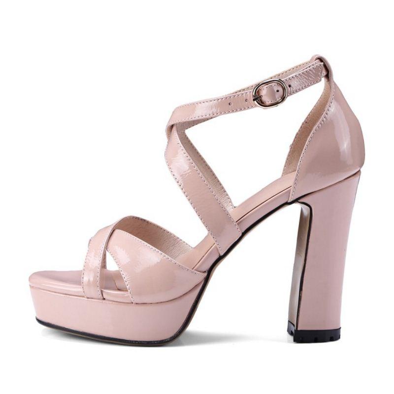 007fe2882ec 33 En Alto Tobillo Sandalias Negro Zapatos Fiesta Plataforma rosado 2019 La  Cuero Coolcept marrón De El Nueva Mujeres ...