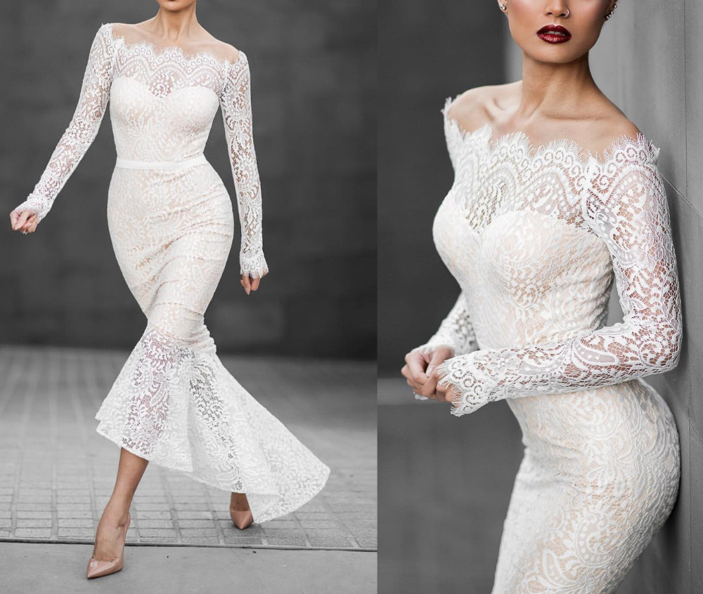 2016 Vintage Lace Mermaid Wedding Dresses Boat Neck High