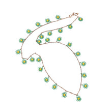 KISS ME New Green Daisy Flower Long Necklace Summer Popular Women Bib Pendant Necklace Brand Costume Jewelry(China)