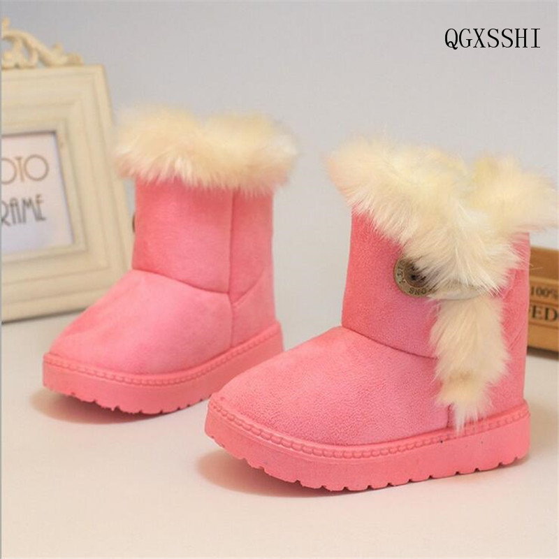 QGXSSHI insole 13~21cm 2016 Winter Children Boots Thick Warm Shoes Cotton-Padded Suede Buckle Boys Girls Snow Boots Kids Shoes