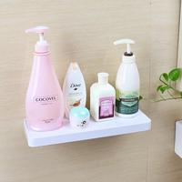 Waterproof Sucker Kitchen Storage Rack with Plastic Hooks Wall Mounted Shampoo Shelves White Storage Holder with Paper Tower Bar
