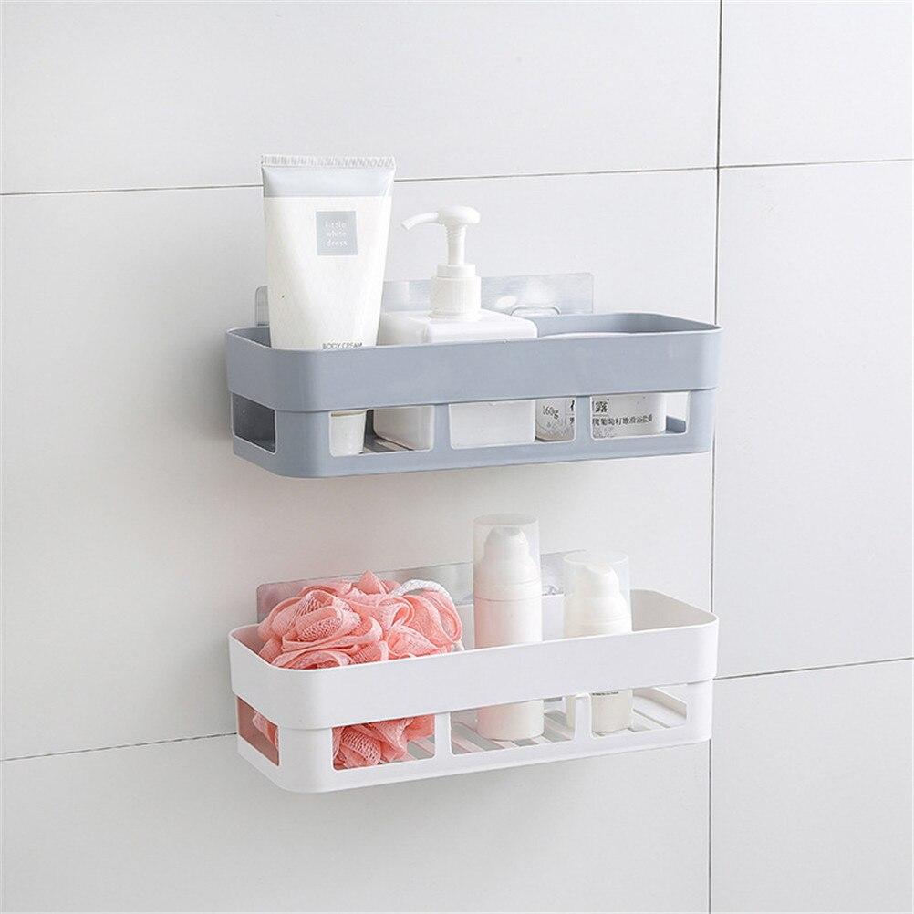 Kitchen Bathroom Shelf Storage Shower Sucker Hanger Rack Wall Cabinets Organizer