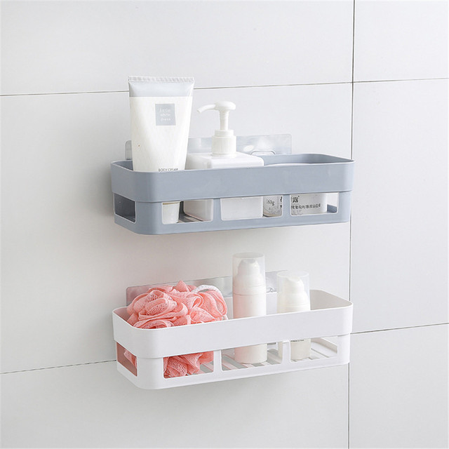 Beau Dual Strong Suction Cup Storage Boxes Bathroom Shelf Kitchen Storage Basket  Wall Mounted Holder Wall Rack Shower Organizer