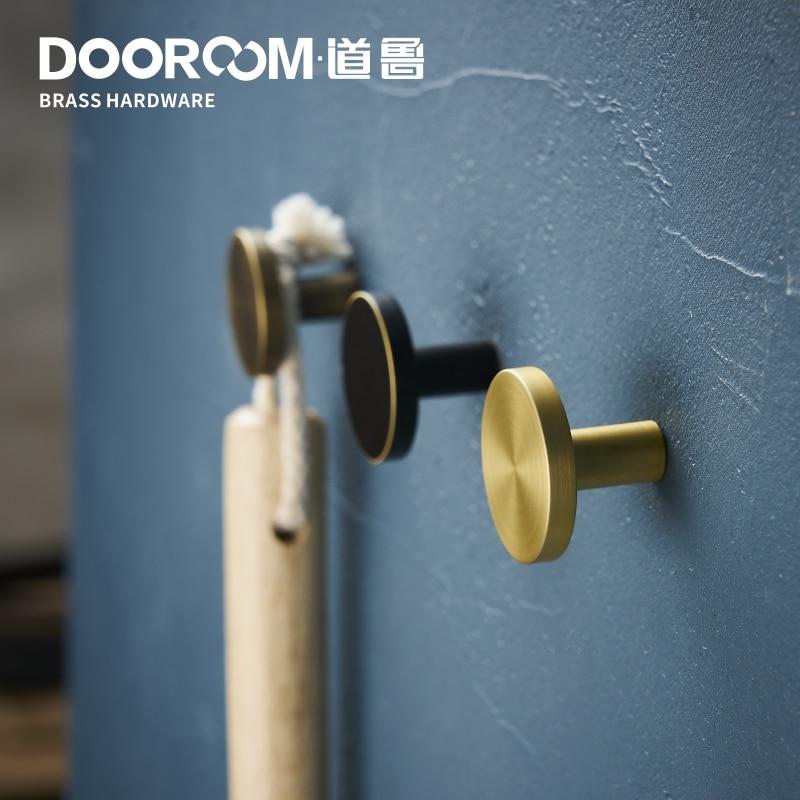 Dooroom Brass Bearing Hooks Bathroom Indoor Kitchen Hallway Wall Clothes Hooks Wall Hangings Row Hooks Nordic Fresh American