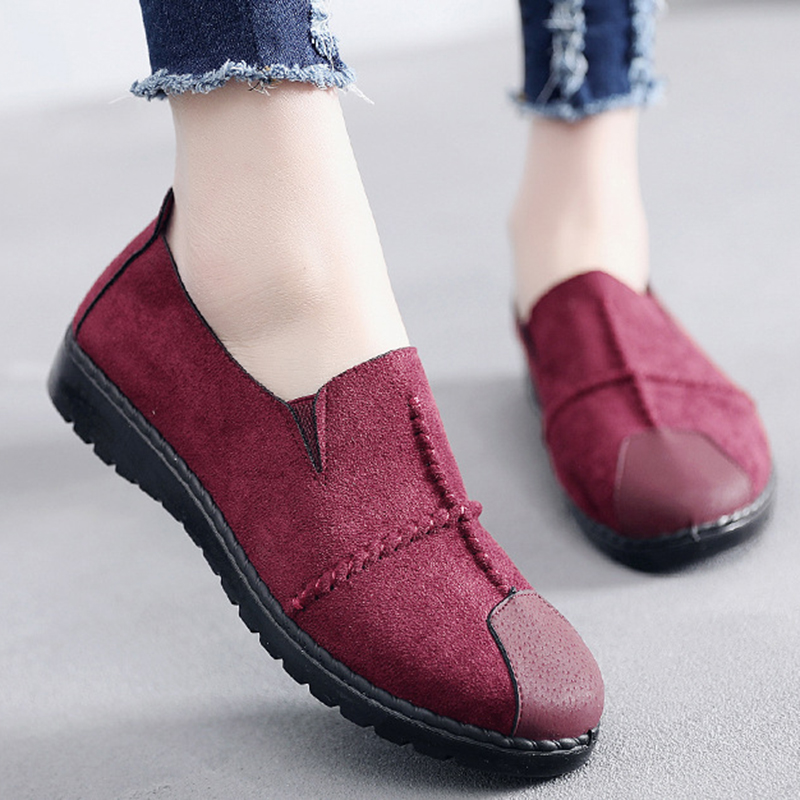 WAWFROK Women Flats Shoes 2018 Summer Spring Breathable Round Toe Shoes Woman Fashion Women Casual Shoes plusbig size 34 43 women s fashion shoes woman flats spring shoes female ballet shoes metal round toe solid casual shoes 237