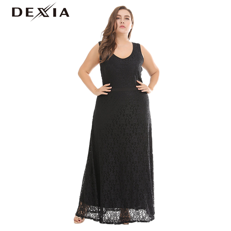 DEXIA Summer Party Black Women Dress Solid Hollow Out O Neck Party Dresses Jurken Elegent Sleeveless Female Vestidos Cloth LL043