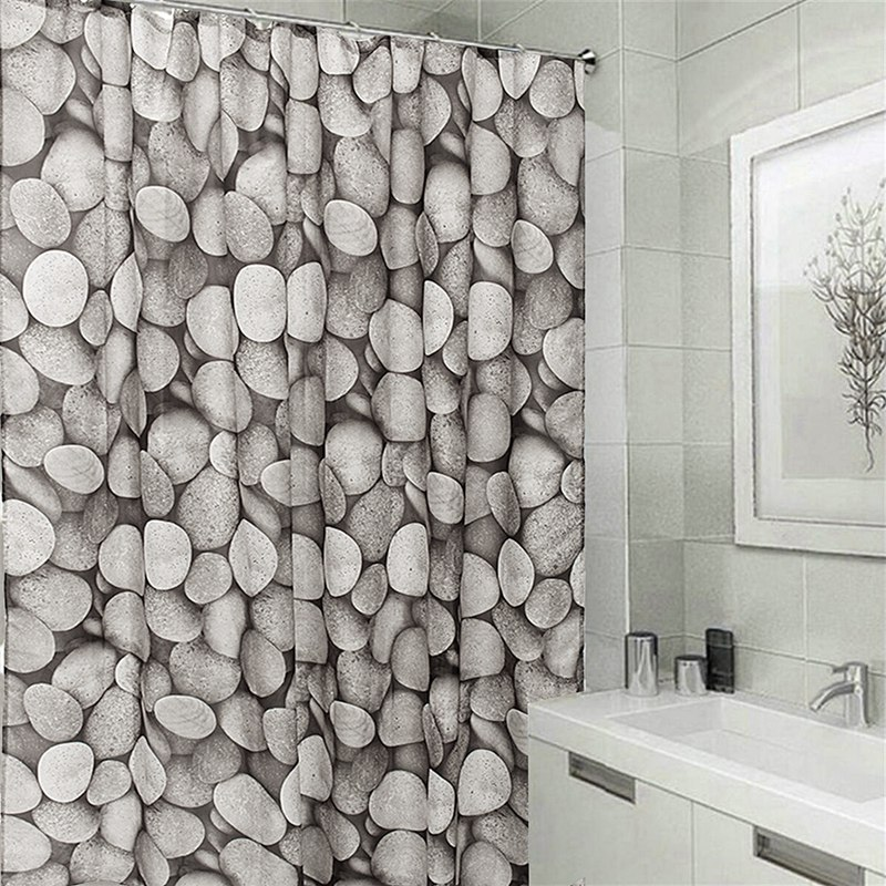 Waterproof White Black Cobblestones Shower Curtain Tub Curtain Bath Bathing  Sheer For Home Decorations With 12