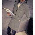 Outono inverno Casual Mens trench coat xxxl Preto Vermelho xadrez estilo Coreano Slim fit