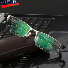 2017 Titanium Alloy Quality Multifocal lenses Reading Glasses Men Fashion Half Rim Progressive Glasses Square diopter glasses