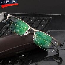 2017 Titanium Alloy Quality Multifocal lenses Reading Glasses Men Fashion Half Rim Progressive Glasses Square diopter glasses