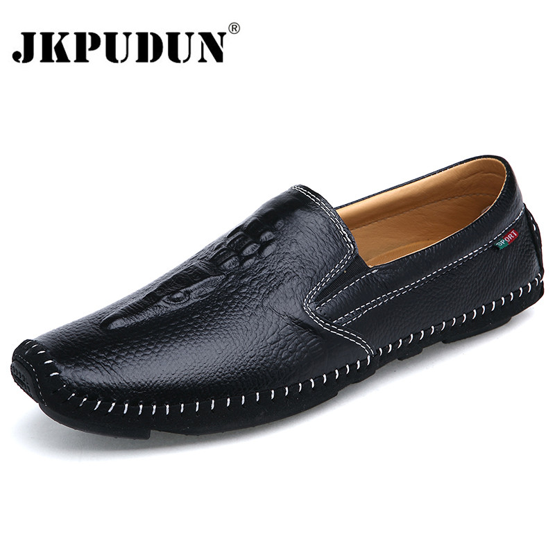 JKPUDUN Crocodile Leather Men Loafers Moccasins Italian Black Casual Shoes Men Luxury Brand 218 Summer Style Slip On Boat Shoes sinoextreme italian leather handmade crocodile embossed men loafer shoes leisure shoes slip on shoe luxury breathable men shoes