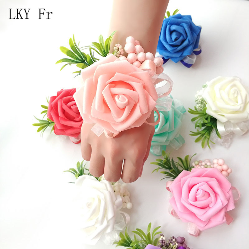 LKY Fr Wrist Corsage Wedding Bracelet Bridesmaid Flowers Wedding Corsage Bracelet Georgette Wedding Witness Marriage Accessories