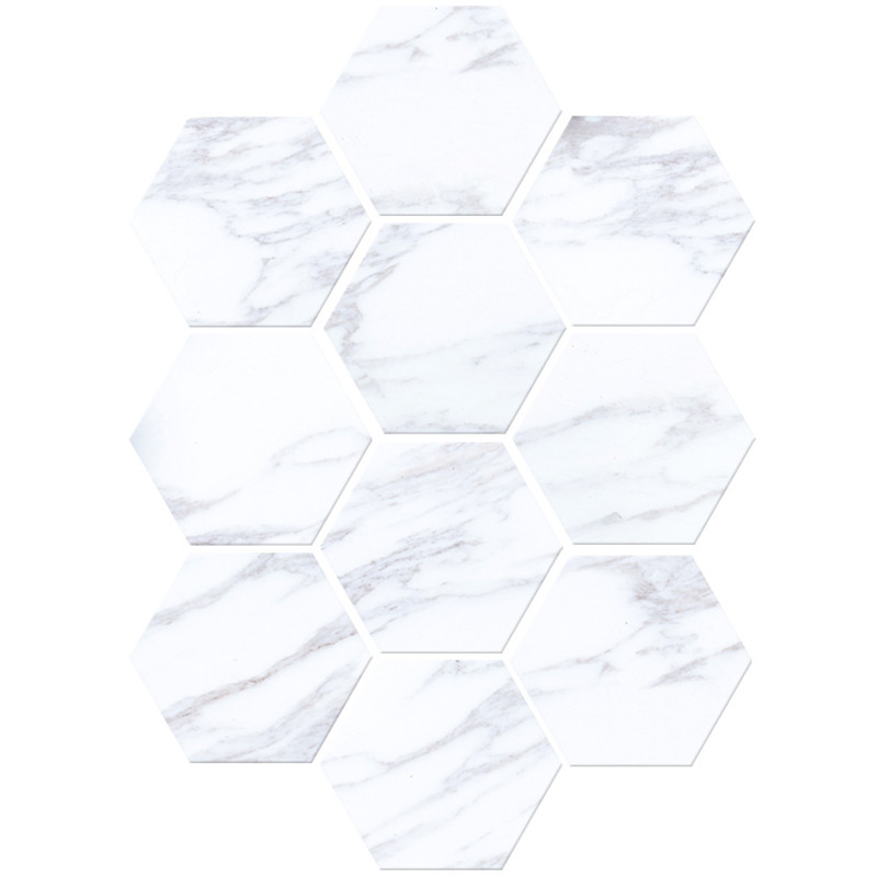 Marble style floor stickers Creative simple DIY hexagon <font><b>ceramic</b></font> tile sticker waterproof non-slip wall stickers home decoration