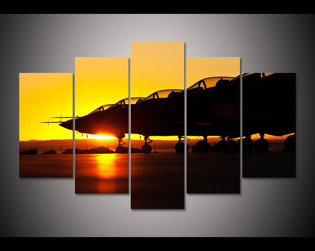 HD Print 5 pcs military airplanes sunset canvas wall art painting ...