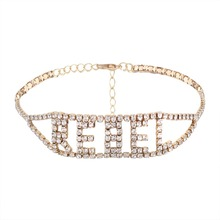 Punk Women Rhinestone Choker Necklace Letter REBEL Cup Chain Collar Necklace Maxi Party  wedding Jewelry