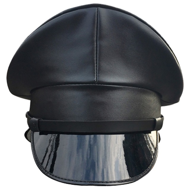 Black PU Leather Military Hat Performance Stage Show Night Bar Cap Captain  Cap 4d0cd422065
