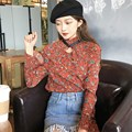 Bohemian 2017 Spring Autumn Women Vintage Print Blouses Shirt Sexy Long Flare Sleeve Stand Collar Lace Up Casual Blusas Tops