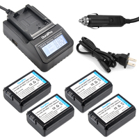 4pc NP FW50 NP FW50 FW50 Camera Battery LCD Quick Charger For Sony A6500 NEX 7