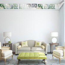 Geometric Baseboard Mirror Wall Sticker Waist Line 3D Acrylic DIY Home Decoration Mural Autocollant 10Pcs 10*10CM