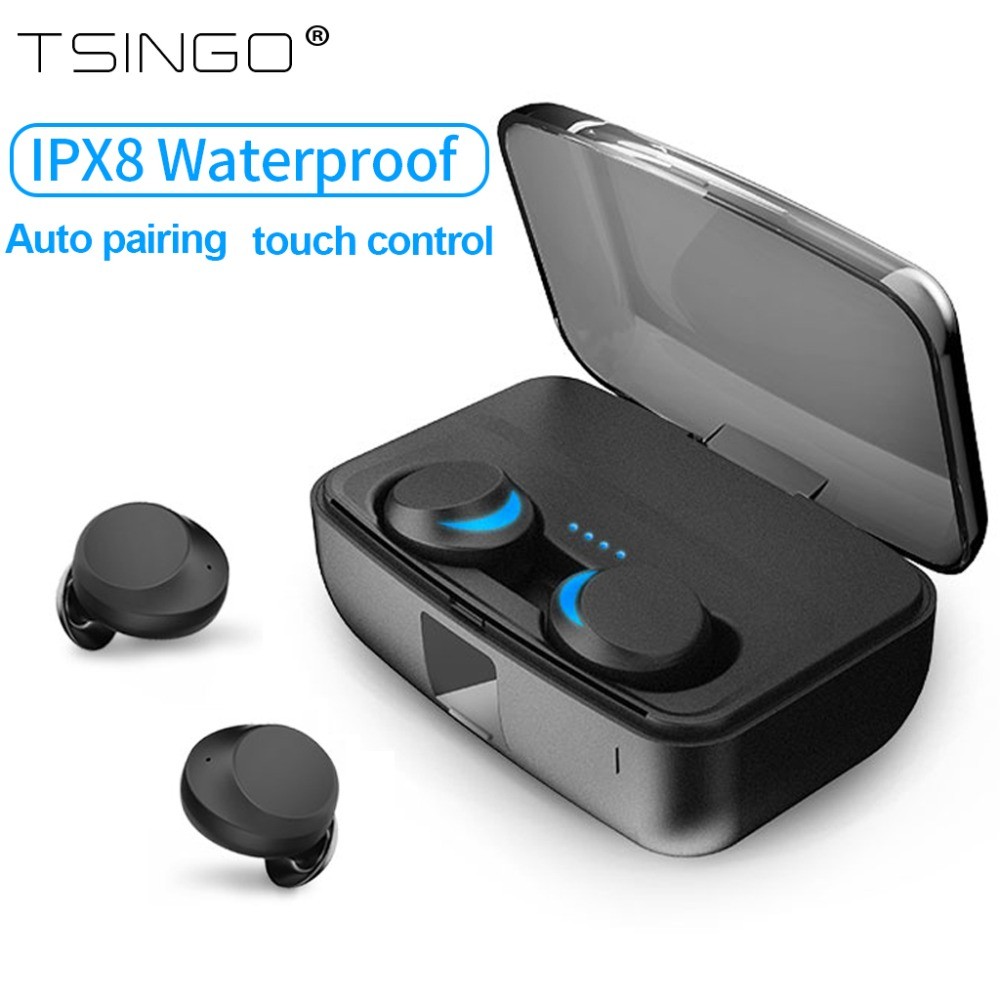 US $22 27 19% OFF|IPX8 waterproof Twins earbuds wireless bluetooth 5 0  earphone touch control mini in ear auto pairing headset for ipXs samsung  -in