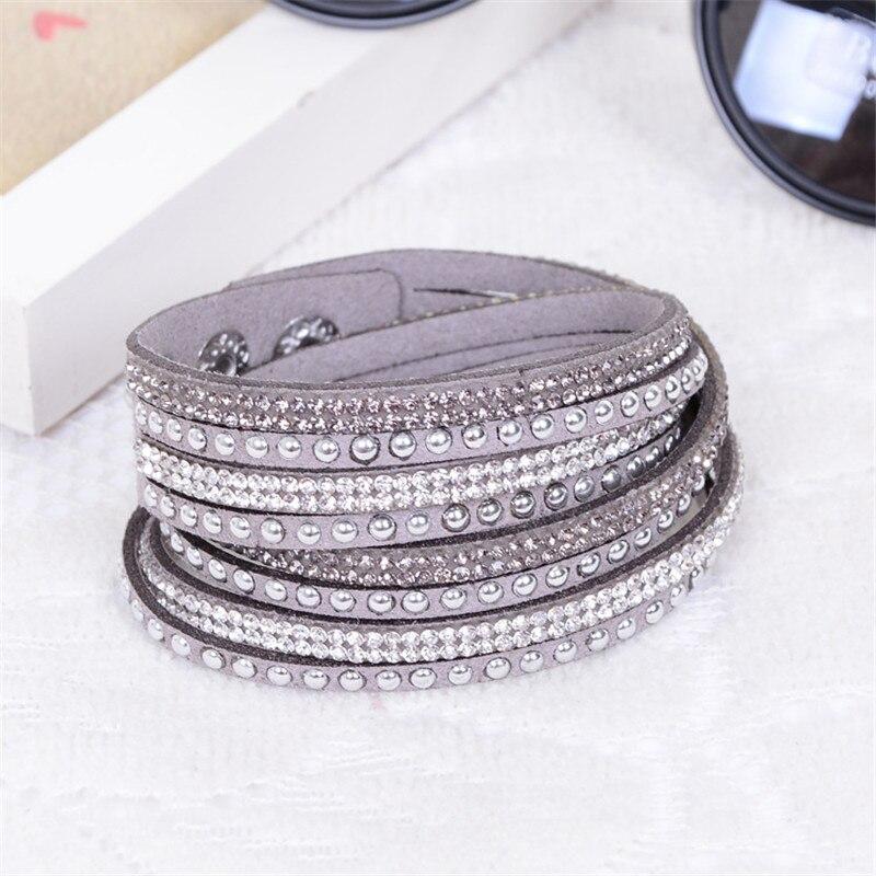 Diezi Pulseira feminina Браслеты и браслеты для Для женщин многослойные горный хрусталь кожаный браслет Кристалл Braclet Модные украшения