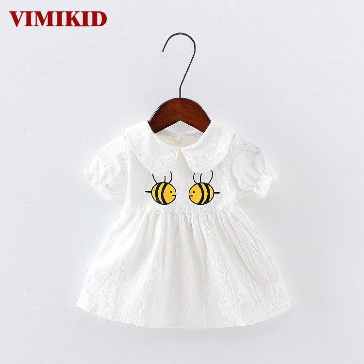 VIMIKID Baby Girl Dress Bomuld Nyfødt Baby Tutu Beklædning Summer Short Sleeve Prinsesse Klæder Fancy Toddler Gown Infant
