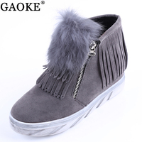 Warm Fur Winter Shoes Women Waterproof Snow Boots 2018 Classic Flat Flock Solid Fringe Female Boots